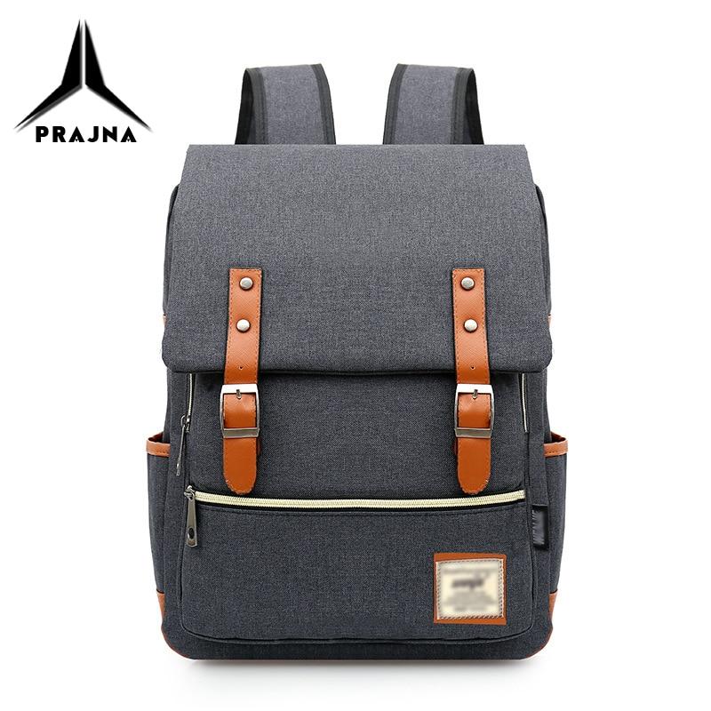 Backpack Men School Bag Travel Fashion Backpacks Minimalist 14inch Laptop Bag Male Bagpack Mochila USB Recharge Bag Women PRAJNA