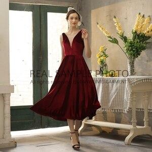 Image 5 - Simples veludo v pescoço sem costas chá comprimento vestido de noite vestido de baile 100% amostra real foto preço de fábrica
