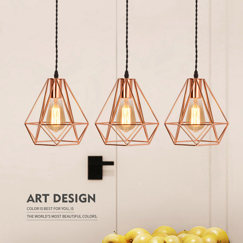 Nordic Rose Gold Bird Cage Pendant Light Restaurant Bar Kitchen Island Lighting Pyramid Pendant Light Suspension Luminaire Lamp