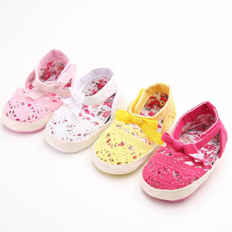 Baby Girl Shoes Infant Crib Shoes Light Cotton Cute Princess Bowknot Flower Print Soft Sole Newborn Toddler Girl Moccasins Shoes