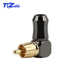 RCA Plug Angle Connector Male L type 90 degree RCA Right Angle Elbow Converter RCA Plugs Gold Plated Solder Wire Audio Adapter