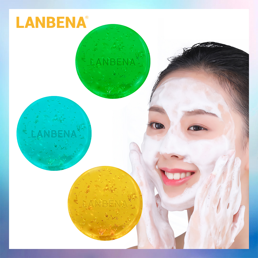 LANBENA 24K Gold Handmade Soap Hyaluronic Acid Face Cleaning Moisturizing Acne Treatment Repair Whitening Anti-Aning Winkles image