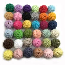 10pcs 16mm Mix color Crochet Beads Woolen Yarn For Choose Knitted By Cotton Thread for Jewe