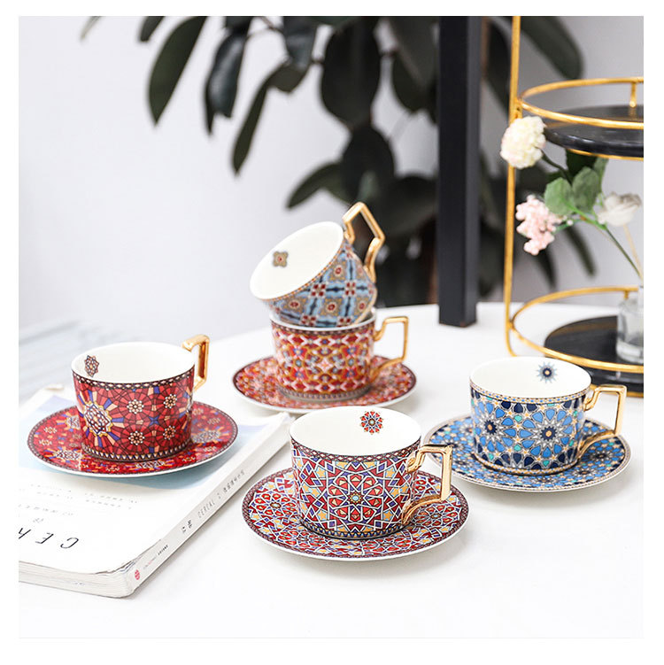 Luxury Moroccan Coffee Cup and Saucer Set