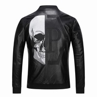 2019 Skull Rhinestones PU Jackets Men Black High Street Stand Neck Zipper Rib Sleeve Streetwear Motorcycle Faux Leather Coats