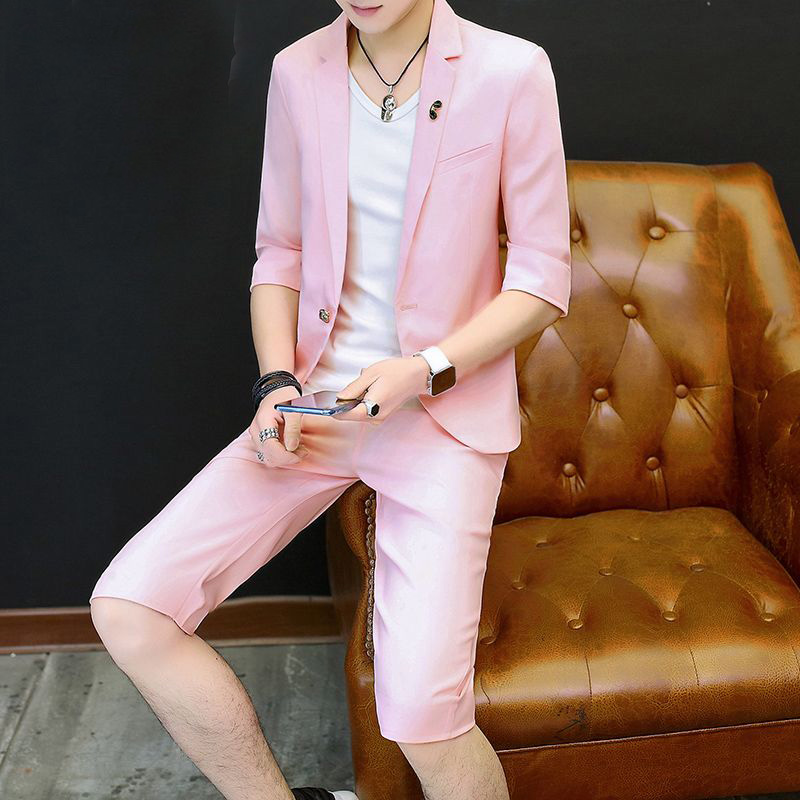 <font><b>Men's</b></font> Slim Fit <font><b>Suit</b></font> Young <font><b>Mens</b></font> Romantic Pink Wedding <font><b>Suits</b></font> 2 Piece Jacket <font><b>Shorts</b></font> Sets for Groomsmen Ropa Hombre Elegante Tuxedos image