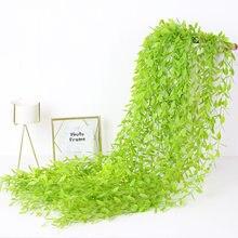 1Pcs 100Cm Green Silk Artificial Hanging Leaf Garland Plants Vine Leaves Diy For Home Wedding Party Bathroom Garden Decoration