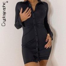 Cryptographic ruched preto camisa feminina vestido moda casual turn-down colarinho botão até mini vestidos femininos bodycon sólido