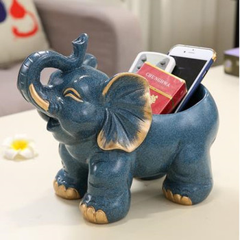 Elephant crafts model, home desktop decorations, retro animal furnishings, can be used as candy trays, key storage