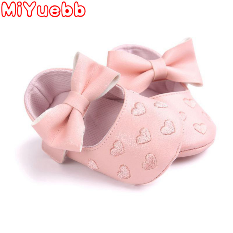 Toddler Kids Shoes PU Bow Soft Soled Non-Slip Spring And Autumn Fashion Caution Heart Pattern Leisure Children Shoes 2019 New