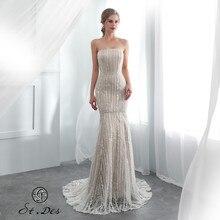 Нью-2020 Санкт-De0s без бретелек Русалка шампанское кружева бисером рукавов дизайнер длина пола вечернее платье