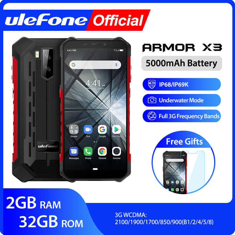 Ulefone Mt6580 Armor X3 Ip68 32GB GSM/WCDMA Quad Core Face Recognition 8mp New Waterproof
