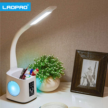 LAOPAO Study LED Desk Lamp with 10W USB Charging Port&Screen&Calendar&Colors Night Light Kids Dimmable Table Lamp with Pen Hold