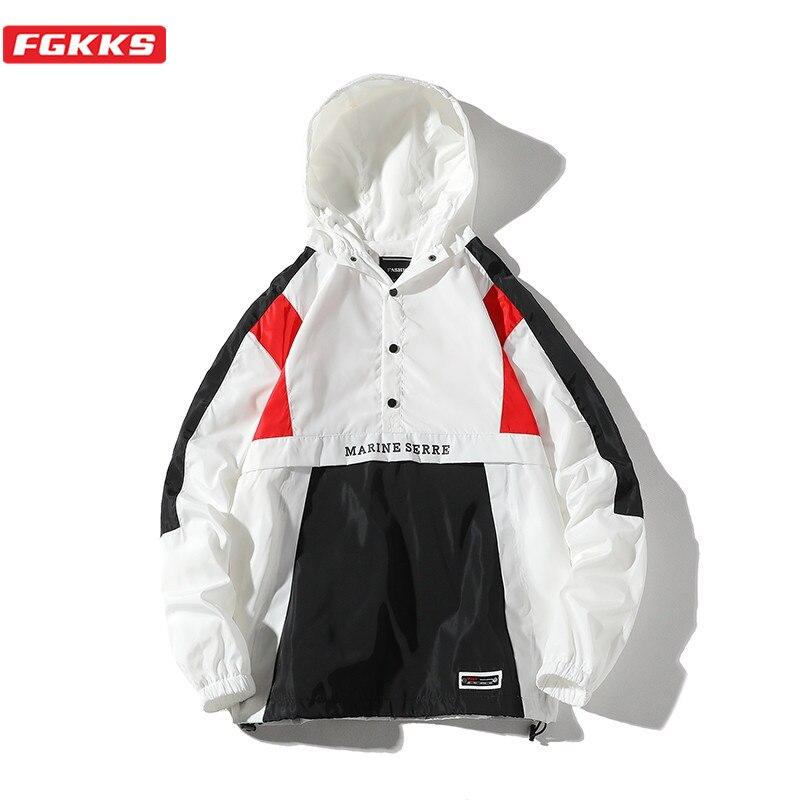 FGKKS, Весенняя Новинка, мужские хип-хоп куртки, модный бренд, уличная Мужская Лоскутная куртка с капюшоном, пальто, Повседневная дикая мужская...