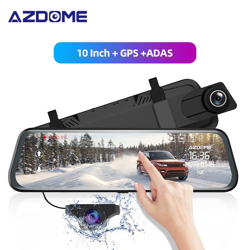 "AZDOME PG02 10"" Mirror Dash Cam With GPS Streaming Media Full-Screen Touching ADAS Dual Lens Night Vision 1080P + 720P Car DVRs"
