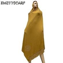 100% ソフトコットンスカーフ KASHKHA スカーフアフリカイスラム教徒女性ドバイをビッグラインストーンで BM827