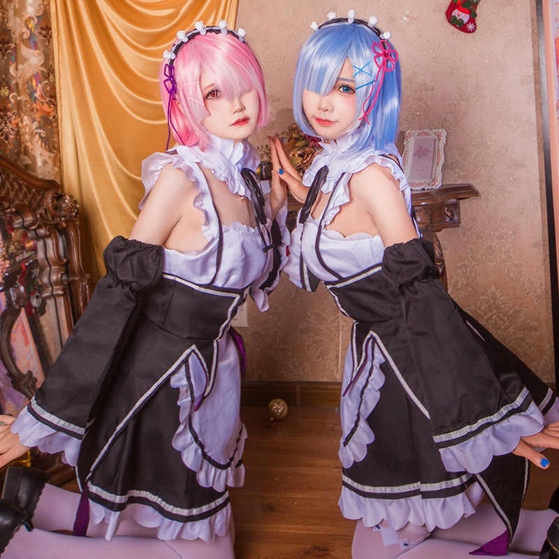 Anime A la vida en un mundo diferente Ram Rem dama vestido de fiesta de té peluca Re: cero Kara Hajimeru Isekai Seikatsu Kawaii Cosplay traje