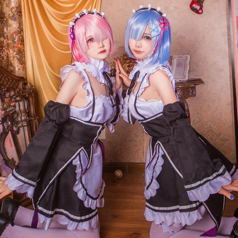 Anime Re Life In A Different World Ram Rem Maid Tea Party Dress Wig Re:zero Kara Hajimeru Isekai Seikatsu Kawaii Cosplay Costume