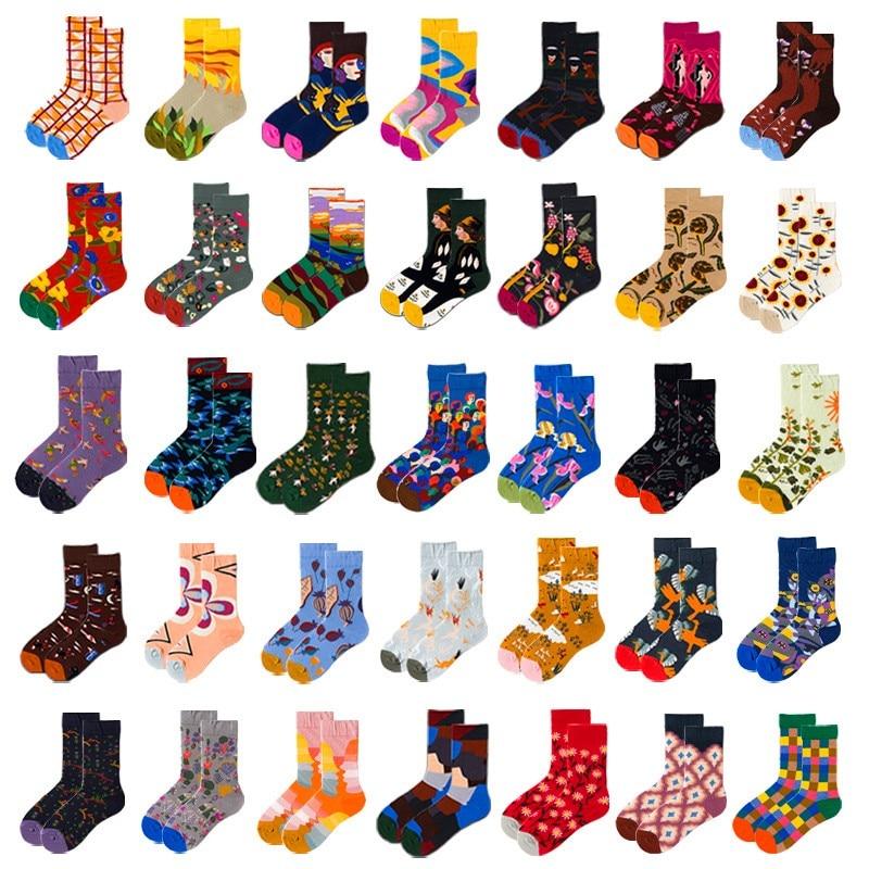 Funny Socks Oil-Painting-Socks Abstract Harajuku Men French-Style Women Unisex New-Fashion