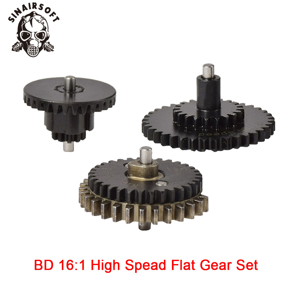 Hot BD High Quality CNC 16: 1 High Speed Flat Gear Set Fit Ver.2 / 3 AEG Airsoft Gearbox For Hunting Paintball Shooting
