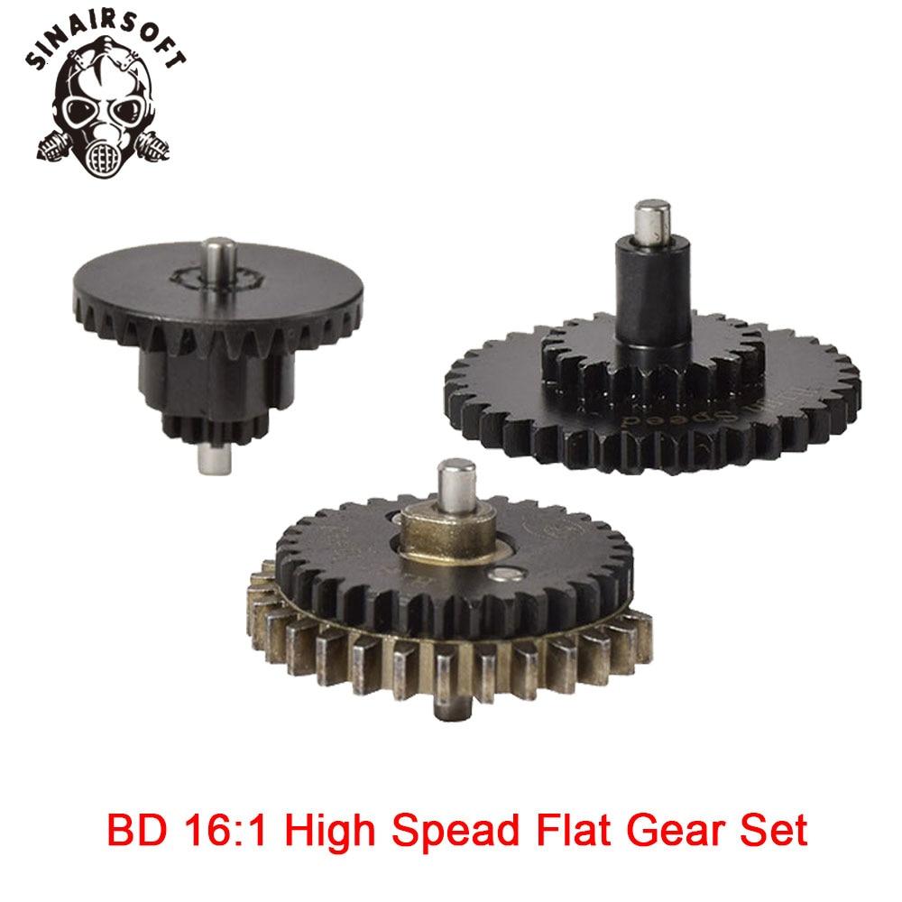 Juego de engranajes planos de alta velocidad para caza y Paintball, engranaje de alta calidad CNC 16: 1, ajuste Ver.2 / 3 AEG Airsoft