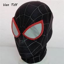 Super-herói aranha máscara homem no verso da aranha milhas morales máscara cosplay peter parker traje zentai aranha capacete homem de regresso a casa