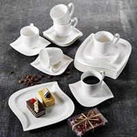 MALACASA Elvira 18 피스 화이트 도자기 세라믹 디너 콤비-6 피스 커피 컵  접시 및 디저트 플레이트 세트