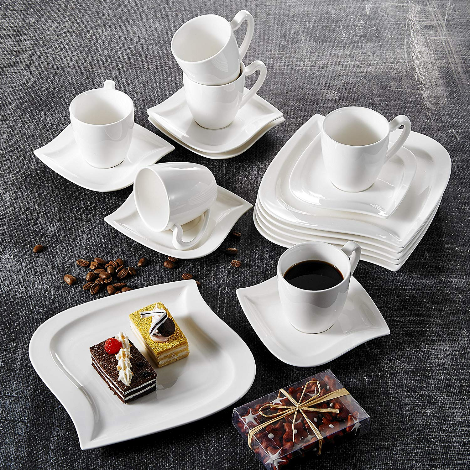 MALACASA Elvira 18-Piece White Porcelain Ceramic Dinner Combi-Set With 6-Piece Coffee Cups,Saucers And Dessert Plates