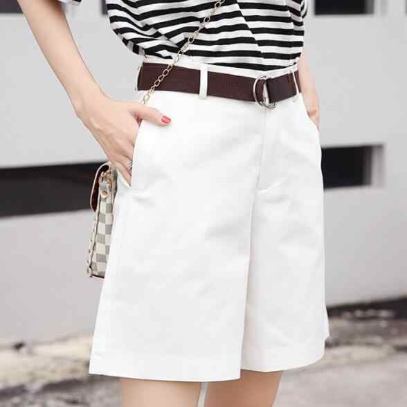 2020 Women Spring Bermuda Shorts High Waist Wide Legs Shorts Culottes Female Outfit City Shorts DV780