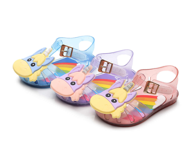 חד קרן תינוק פעוט ילדי החלקה חוף נעלי נסיכה מתוקה נעלי קיץ 2019 חדש בני ובנות סנדלי עבור בנות 4 צבע
