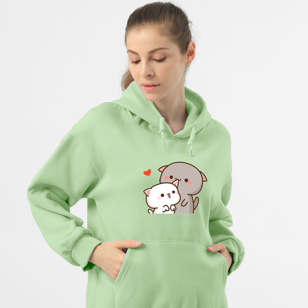 Women Hoodie Kawaii Couple Sweatshirt Cotton Long-sleeved Harajuku Hoodies Pocket Pattern Print Hoody Plus Size Korean Clothes 7