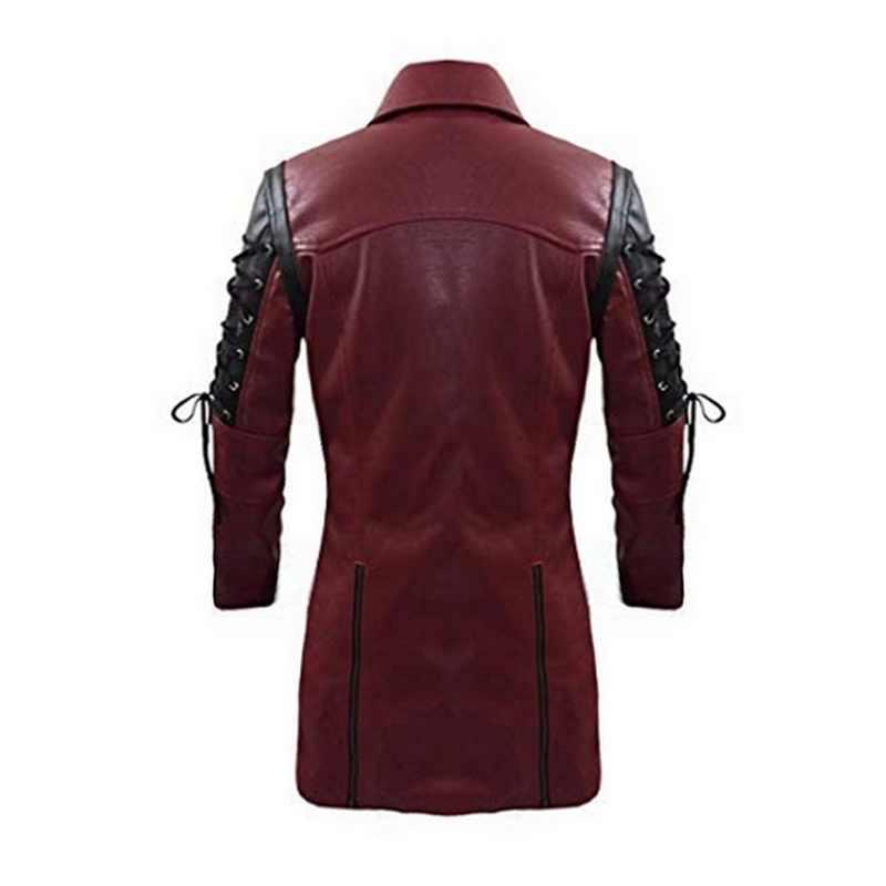 2020 새로운 Steampunk 고딕 남성 가짜 가죽 자켓 지퍼 클로저 칼라 오토바이 자켓 가을 남성 PU 가죽 코트