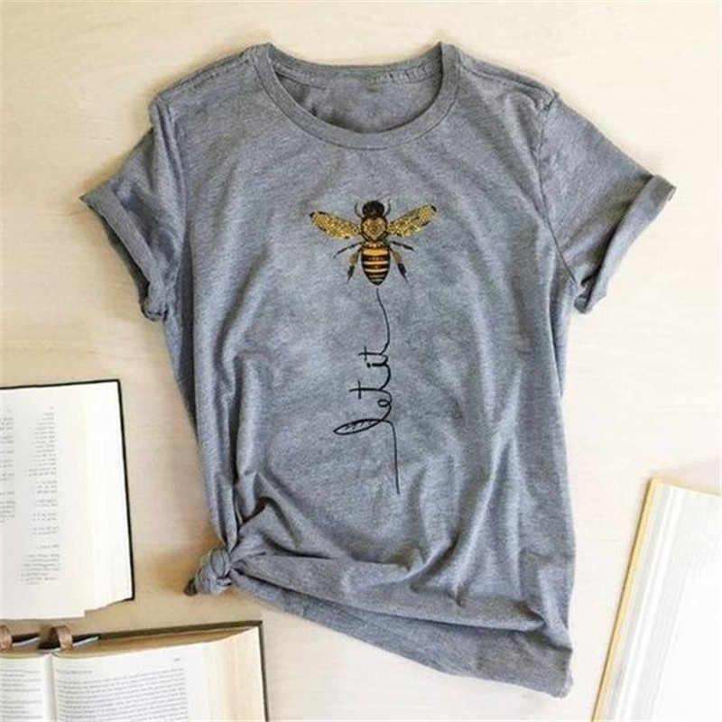 Summer Women/'s Casual O-Neck Short Sleeve Bee Print Loose T-Shirt Top Blouse