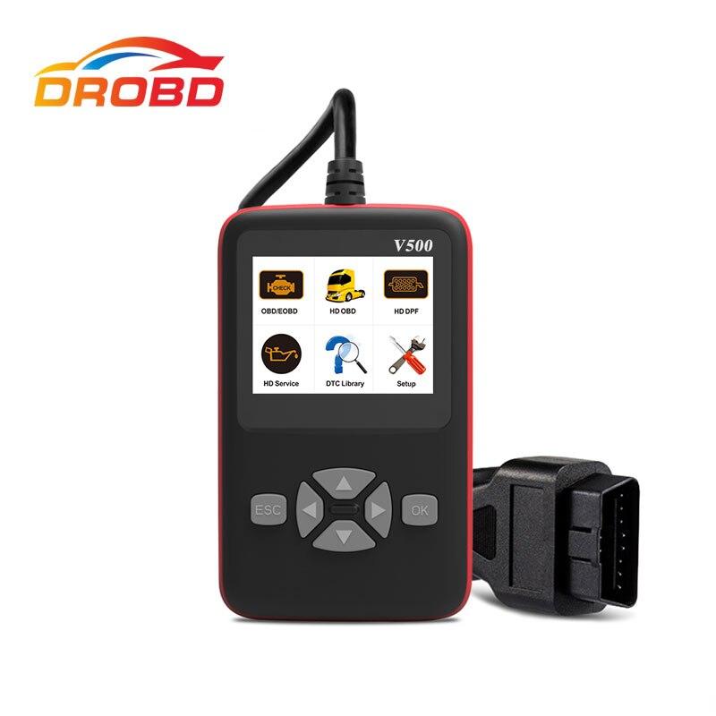 Skaner diagnostyczny V500 OBD OBD2 do samochodów ciężarowych Heavy Duty samochodowy czytnik kodów DPF Reset oleju CR-HD narzędzie diagnostyczne PK NL102P