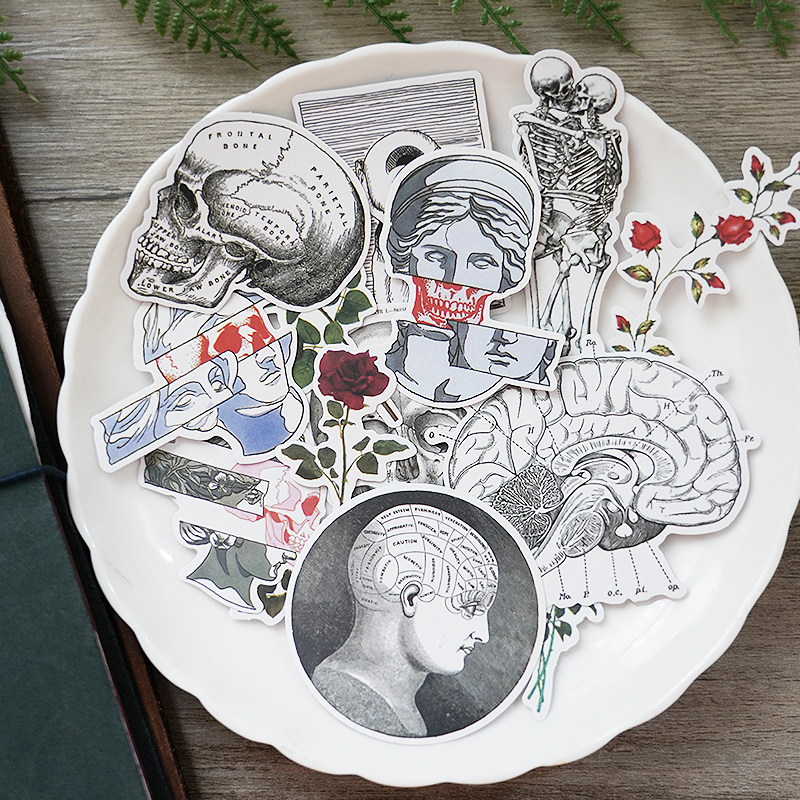 16pcs Love And Death Gimmick Vintage Stickers Crafts Scrapbooking Stickers Book Student Label Decorative Sticker DIY Stationery