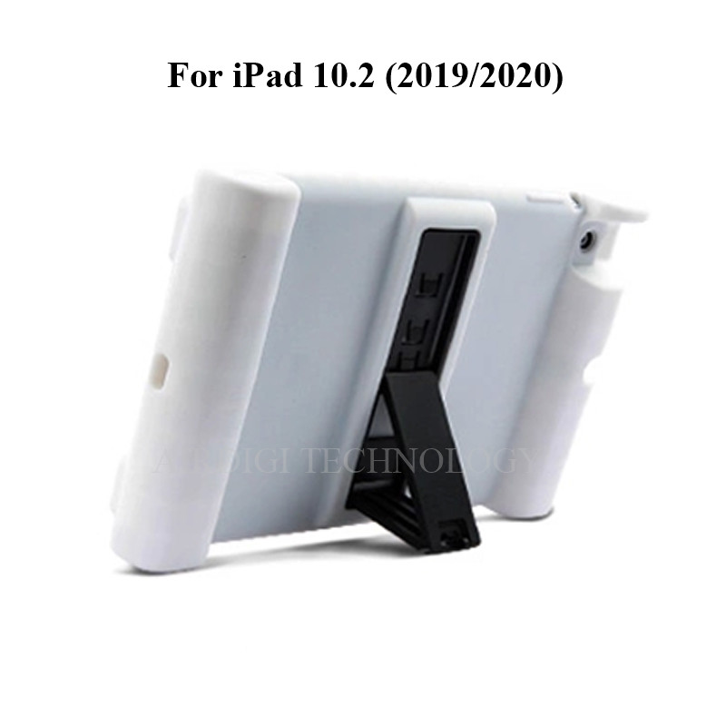 white White Soft Shockproof Silicone Cover Kickstand Case for iPad 10 2 A2198 A2200 A2197 A2270 A2428 A2429