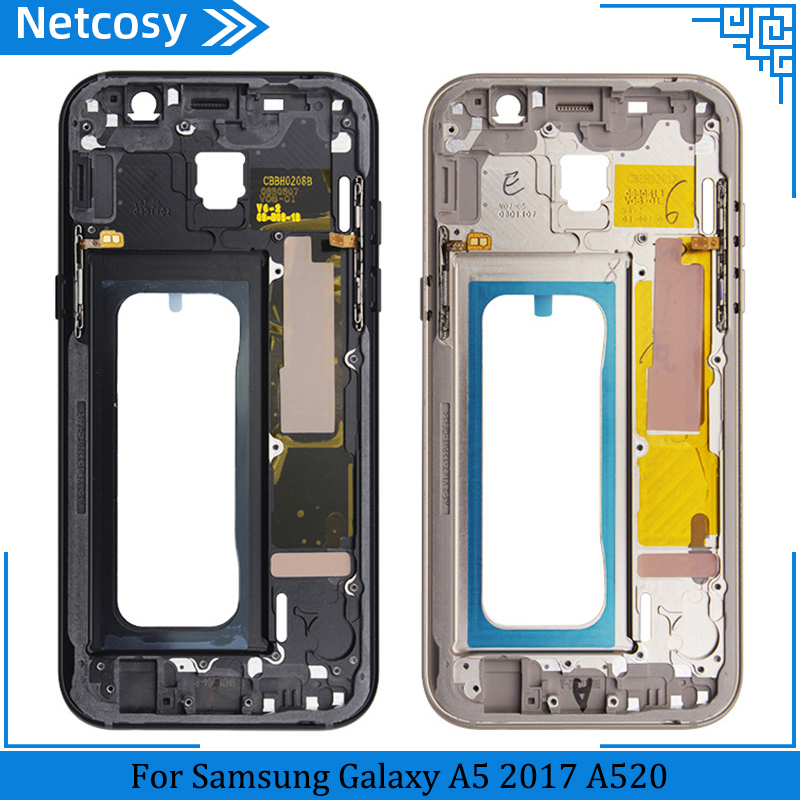 Netcosy For <font><b>Samsung</b></font> <font><b>A520</b></font> Housing Middle Frame Bezel replacement parts For <font><b>Samsung</b></font> Galaxy <font><b>A5</b></font> 2017 <font><b>A520</b></font> Middle Plate Cover image