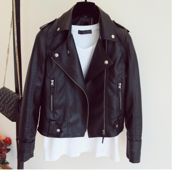 European style pu   leather   jacket 2019 new autumn motorcycle   leather   outerwear women slim biker jacket basic street wear