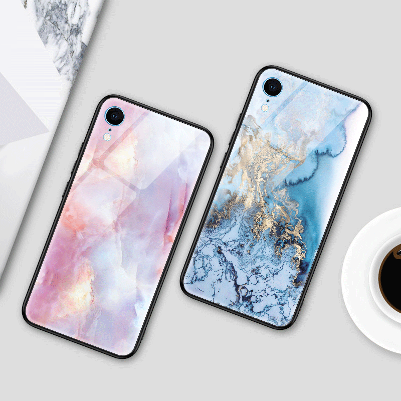 For iPhone SE 2020 For iPhone 11 Pro Max Marble Tempered Glass Soft TPU Cover Phone Cases