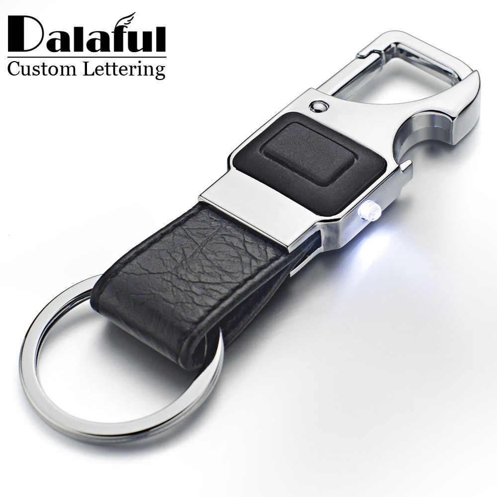 Dalaful Kustom Huruf Gantungan Kunci Lampu LED Bir Pembuka Botol Multifungsi Kulit Pria Mobil Gantungan Kunci Ring Tempat K355