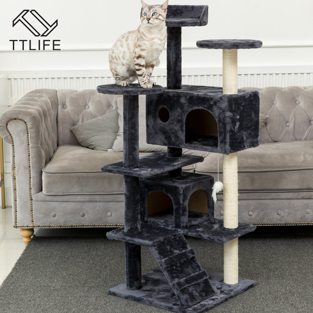 TTLIFE Cat Tree Tower Condo Furniture Scratch Post for Kittens Pet House Play Scratching Posts Plush Perches and Condo Cat Tower