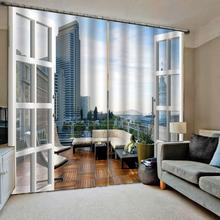 Customized size Luxury Blackout 3D Window Curtains For Living Room Outside the window  building curtains