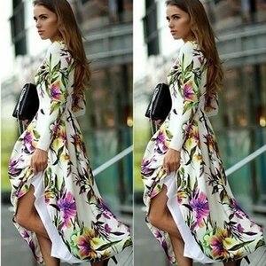 Элегантное женское платье в стиле бохо с длинным рукавом, винтажное платье с цветочным принтом, летнее Повседневное платье трапециевидной ...