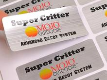 Custom logo design water/oil/UV resistant sticker label brushed/gloss/matt silver PET sticker printing