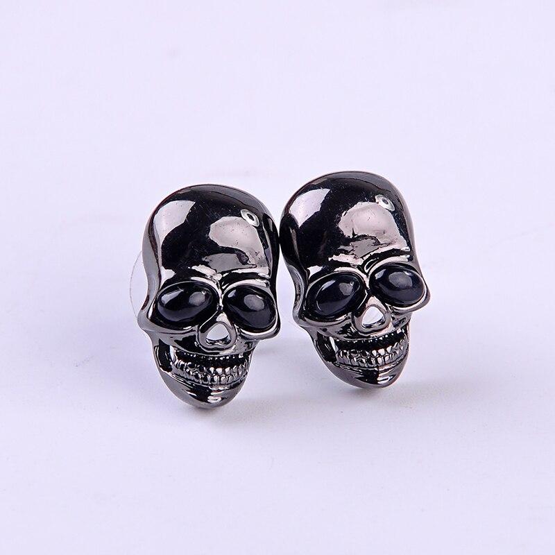 Stud-Earrings Punk-Light Skull Evil Black Women Fashion Yes for Ear-Pin Jewelry-Wholesale