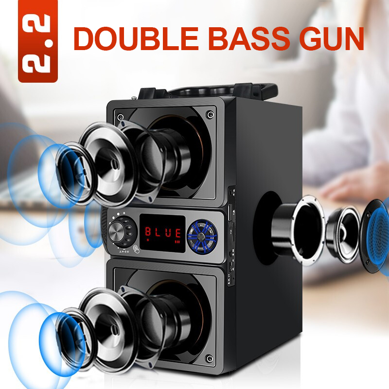 Portable Speaker Bluetooth 5.0 Outdoor Wireless 6D Surround Stereo FM Radio Microphone Support TF Card KTV Party Subwoofer 3
