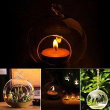 Стекло круглый подвесной лампы в форме свечи Чай светильник подсвечник Романтический дома Свадебная вечеринка мини декоры 6 см