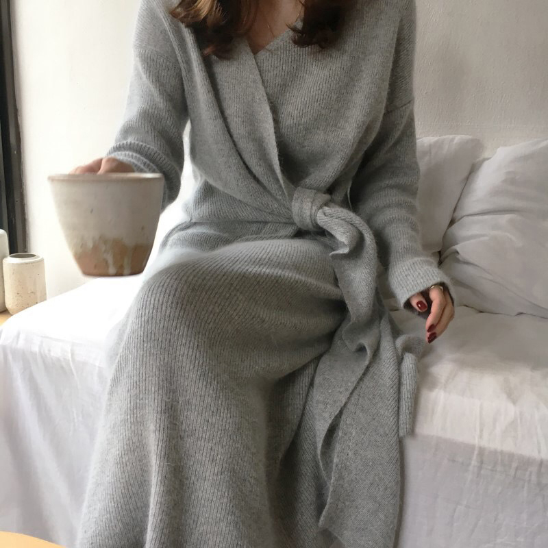 Belted Cashmere Sweater Sexy V Kneck Knitted Long Section Elegant Women Jumper Autumn Casual Solid Color Loose Tunic Knitwear(China)
