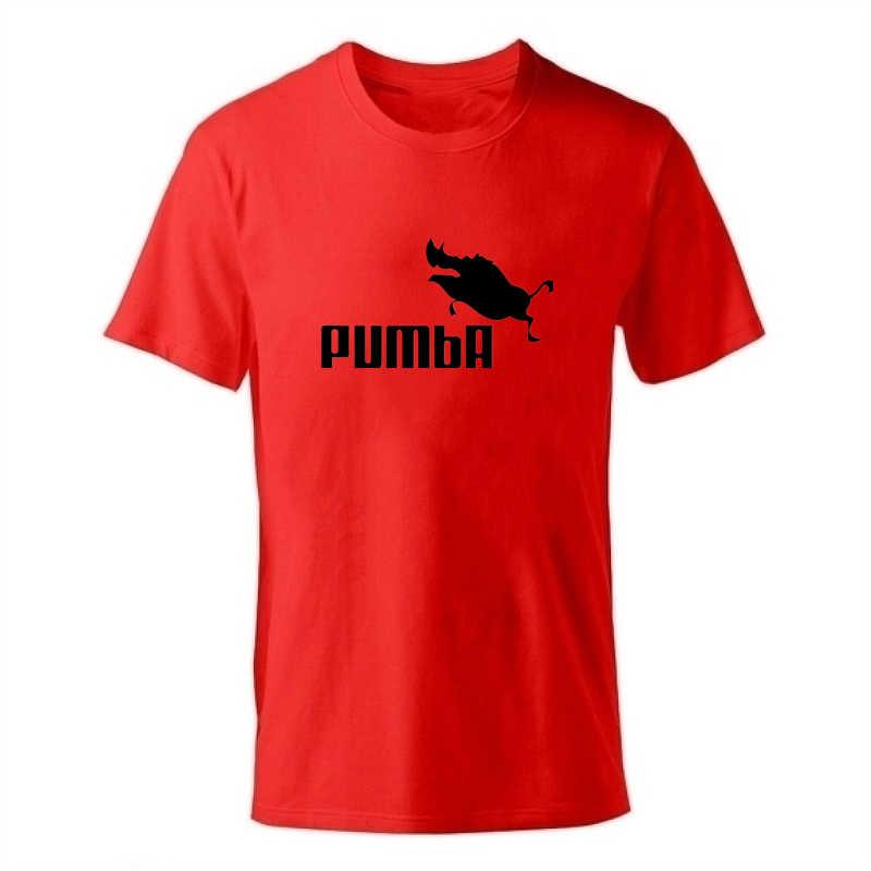 2019 Baru Enzgzl Kaos Pria Lengan Pendek Katun Pria Anak Laki-laki Tops Tees Kasual T-shirt Leher Bulat Kapas Abu-abu Pumba hitam NAVY