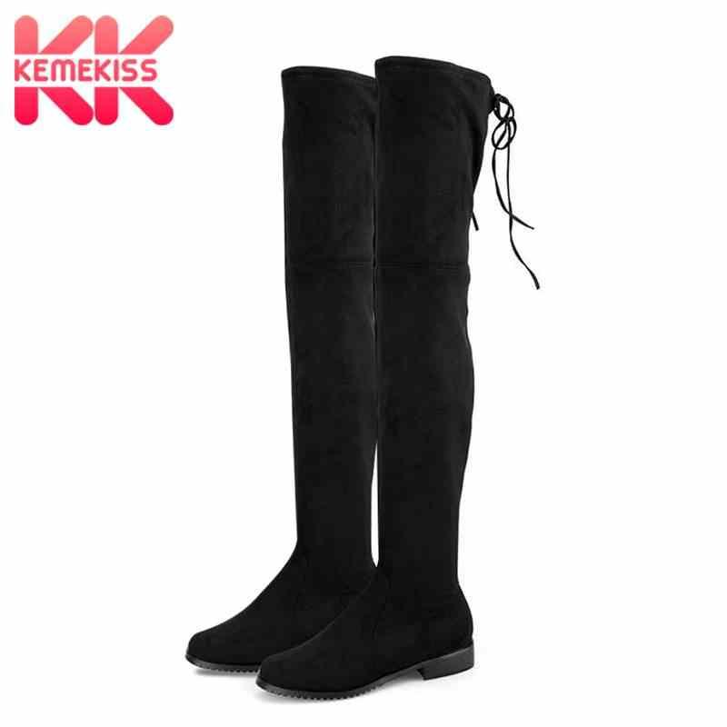 KemeKiss 2020 Frauen 7 Farben Flock Leder Winter Über Das Knie Stiefel Weiche Stretch Stiefel Herbst Wohnungen Schuhe Schuhe Größe 34-43